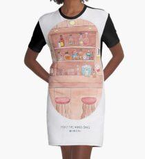 Haruki Murakami's Hear the Wind singen // Illustration einer japanischen Bar in Aquarell und Bleistift T-Shirt Kleid