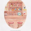 Haruki Murakami's Hear the Wind Sing // Illustration of a Japanese Bar in Watercolour and Pencil by arosecast