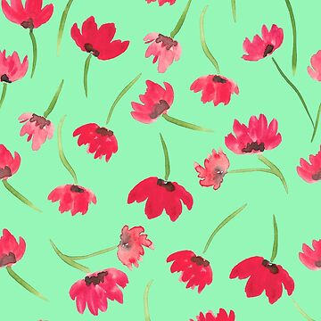 Red poppies on green background by aggie