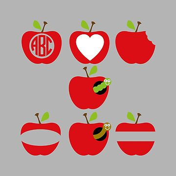 Cartoon illustration of red apples by PM-TShirts