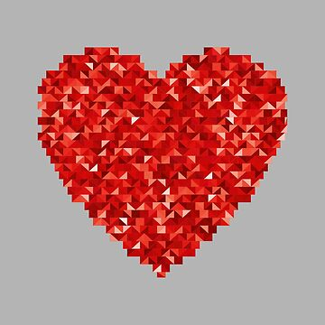 Cartoon illustration of a red heart mosaic by PM-TShirts