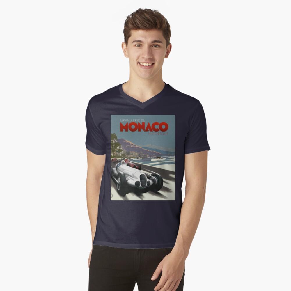 Retro Plakat Grand Prix von Monaco 1929 T-Shirt mit V-Ausschnitt