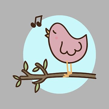 Cartoon illustration of a singing bird by PM-TShirts