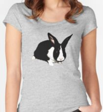 BLACK RABBIT CUTE  Women's Fitted Scoop T-Shirt