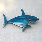 Blue Shark with Red Eye Wooden Wall Decor by TerryArts