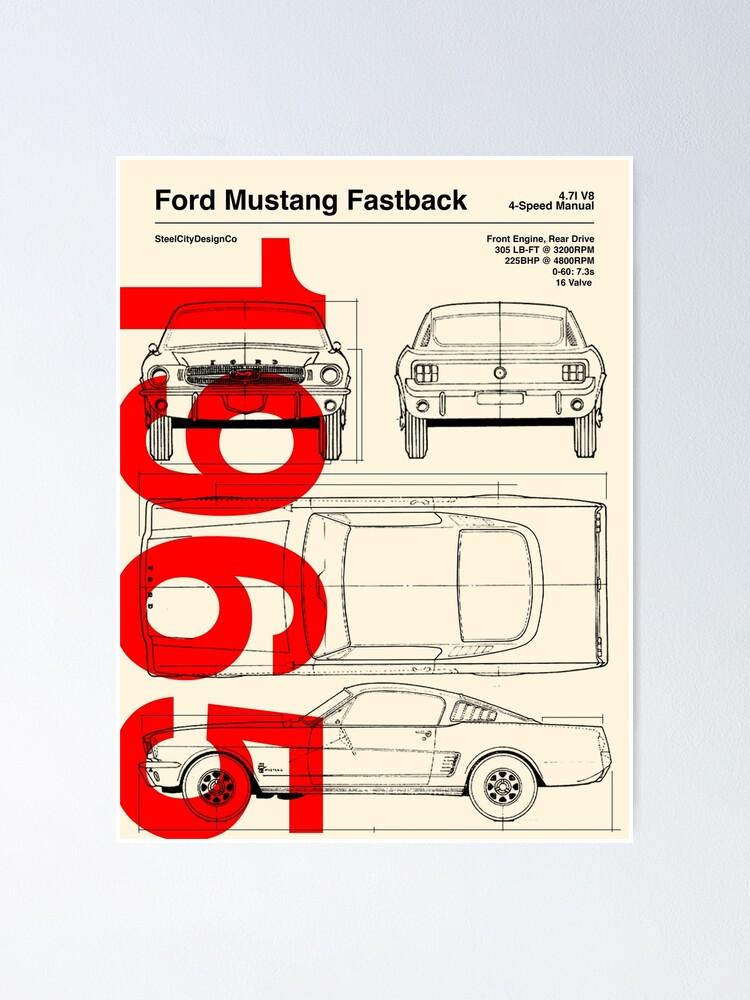 1965 Ford Mustang Fastback Blueprint Artwork