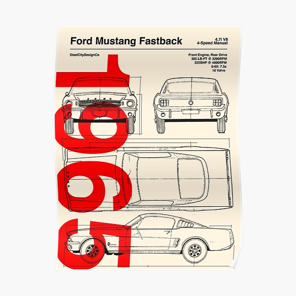 1965 Ford Mustang Fastback Blueprint Artwork Poster
