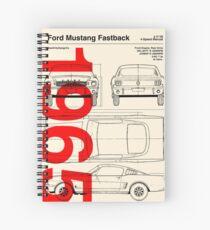 Cuaderno de espiral 1965 Ford Mustang Fastback Blueprint Obra