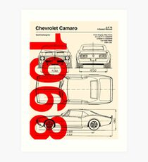 1968 Chevrolet Camaro SS Blueprint Artwork Art Print