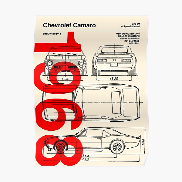 1968 Chevrolet Camaro SS Blueprint Artwork Poster