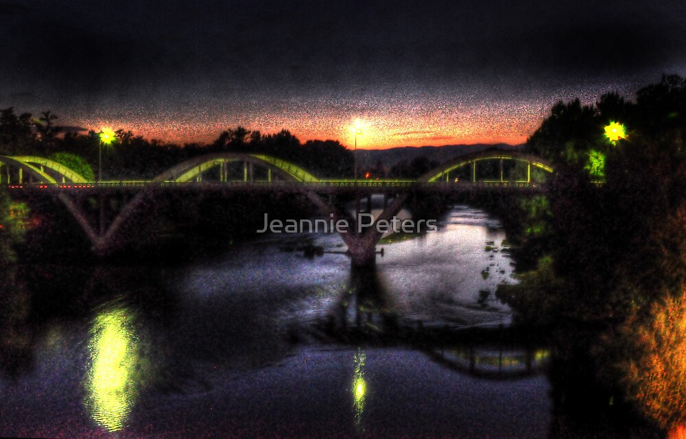 night shot of grants pass bridge by Jeannie Peters