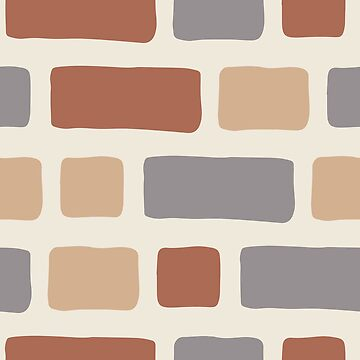 Rustic Bricks Pattern-Cream Coloured Background by broadmeadow