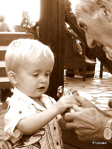 Grandfather and Grandson  (let me show you) by fruitcake