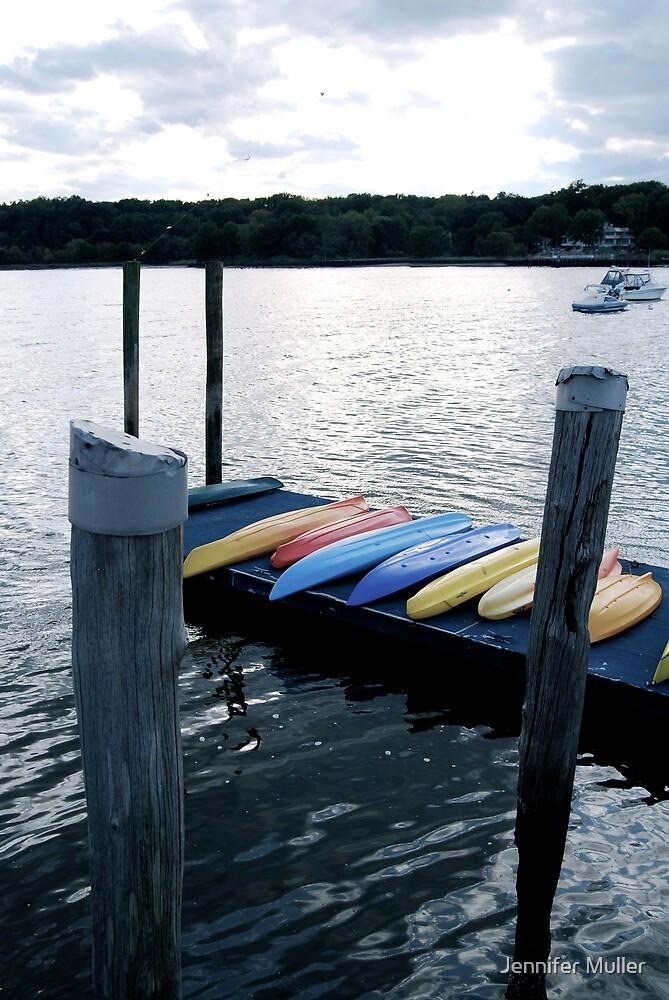 kayaks on the dock by Jennifer Muller