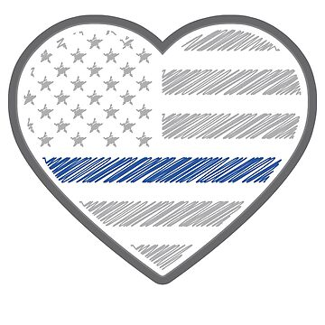 Thin Blue Line Family American Flag Heart Shape by common-node