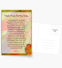 I Said a Prayer For You Today - Inspirational Postcards