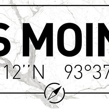 The longitude and latitude of Des Moines by efomylod