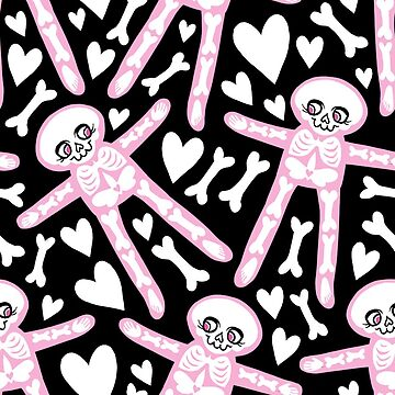 Pink Skeletons with hearts and bones pattern  by blacklilypie