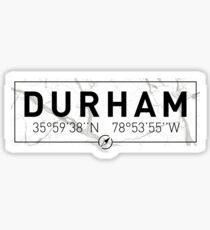 The longitude and latitude of Durham Sticker