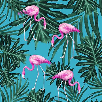 Summer Flamingo Jungle Vibes #2 #tropical #decor #art  by anitabellajantz