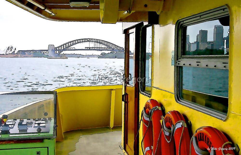 View of Sydney Harbour Bridge from the wheelhouse of a Manly Ferry by Mike Gregory