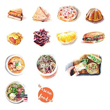 Asian food stickers by hazelong