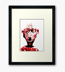 stencil type ghoulish figure Framed Print