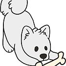 Samoyed with Bone by ncdoggGraphics