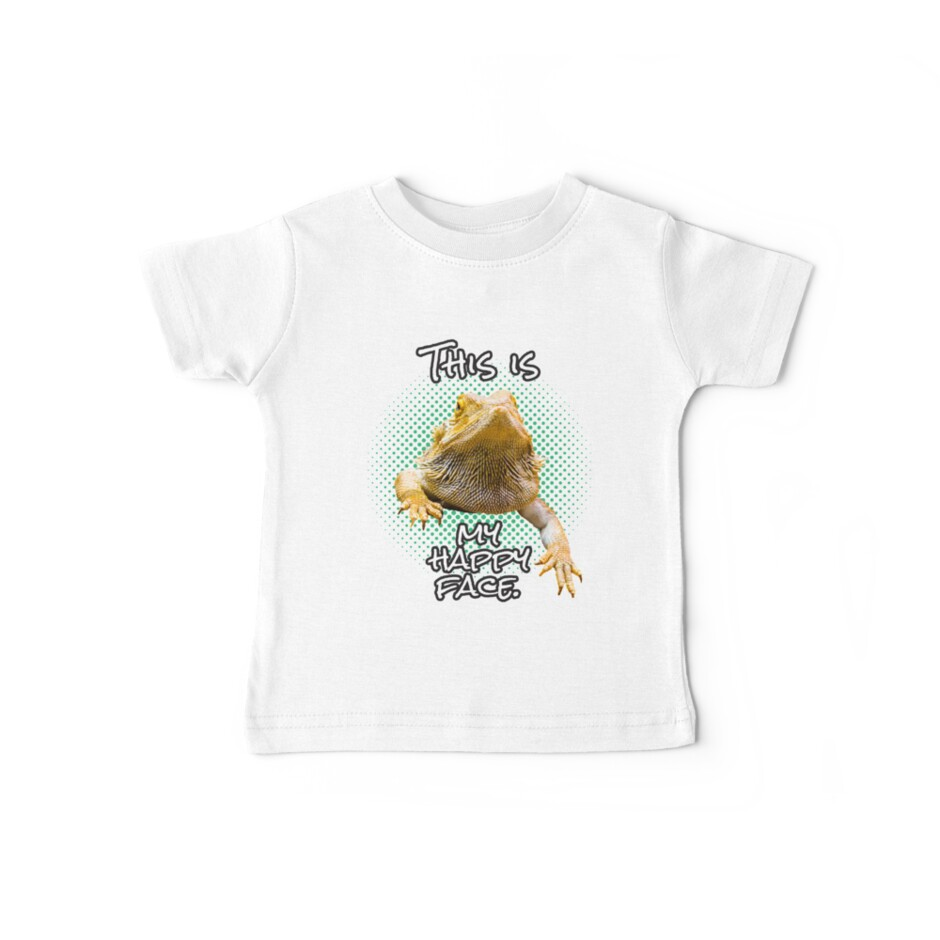 This Is My Happy Face Bearded Dragon Funny Reptile T-shirt by Plistshirts