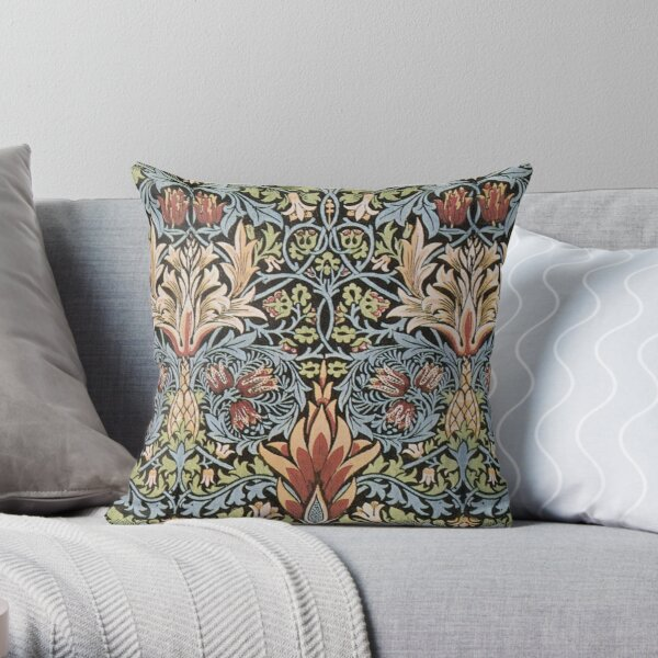 Arts and Crafts Movement. Snakeshead printed textile. William Morris. 1876. Throw Pillow