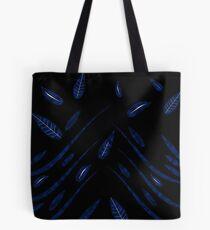 Dark Leaves pattern, blue leaves, leaf, pattern, black and white, dark leaves, dark floral, abstract, modern, amazing, beautiful, luxury Tote Bag