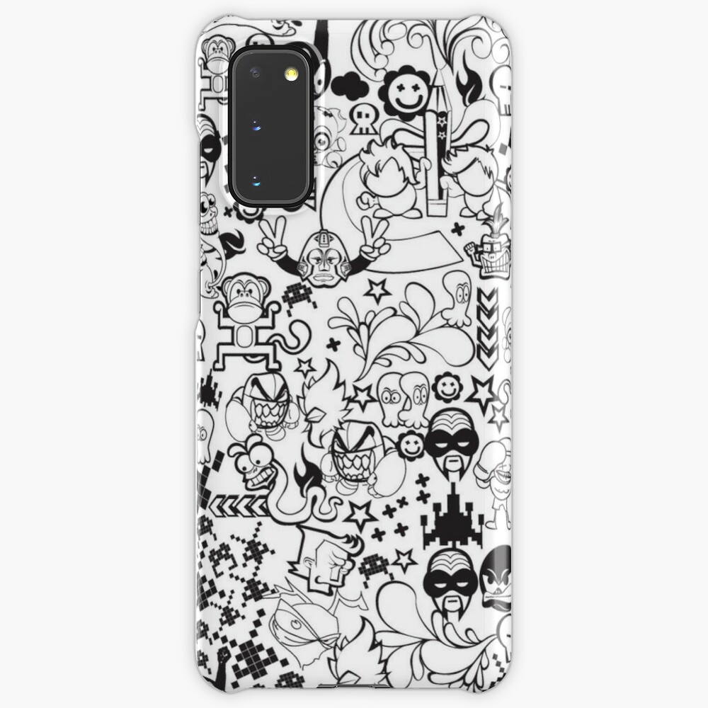 Black White Doodle Wallpaper Case Skin For Samsung Galaxy By Mrkingswag Redbubble