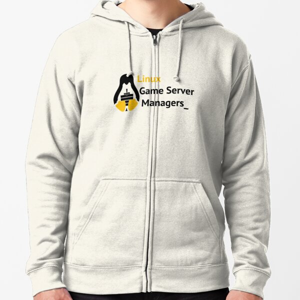 Linux Game Server Managers Logo Zipped Hoodie