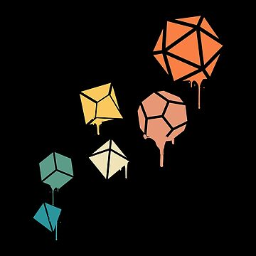 Spiral Dripping Paint Polyhedral Dice Set Dungeons Crawler and Dragons Slayer Tabletop RPG Addict by pixeptional