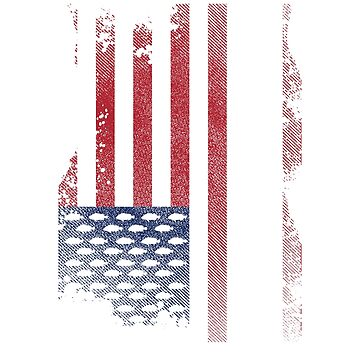 American Flag Fishing T-Shirt by mia1949