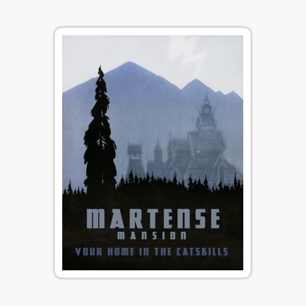 """H.P. Lovecraft Travel Poster: The Martense Mansion (""""The Lurking Fear"""") Sticker"""