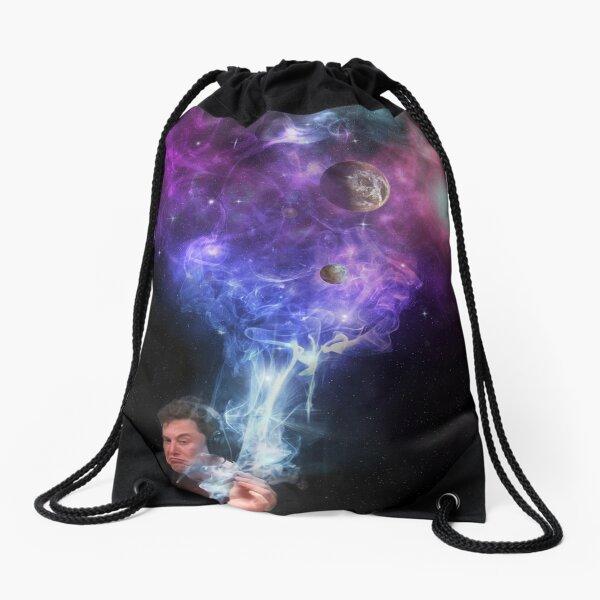 Elon Musk smoking outerspace weed Drawstring Bag