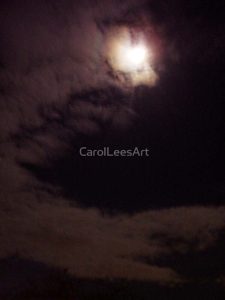 Crescent sky with full moon by CarolLeesArt