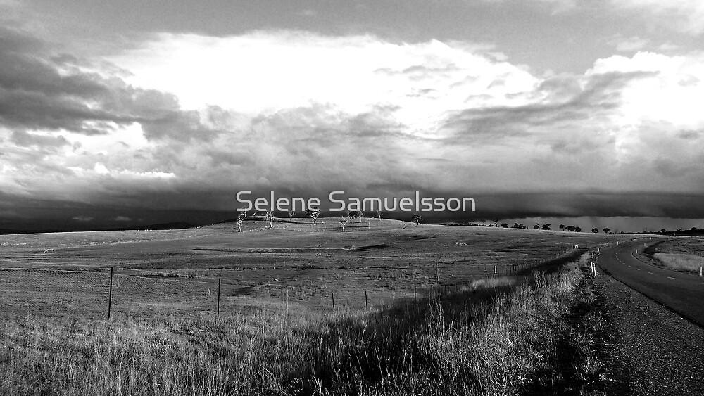 Driving Into The Storm (Black & White) by Selene Samuelsson