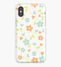 Cute blue orange abstract floral pattern iPhone Case/Skin