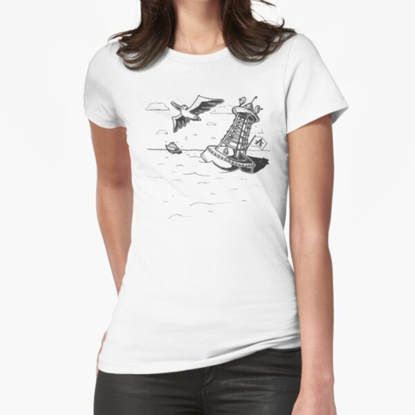 Pelican Sea Drawing Fitted T-Shirt