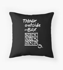 Think Outside the Box Tic Tac Toe Funny Playing Games Humor Gifts Throw Pillow