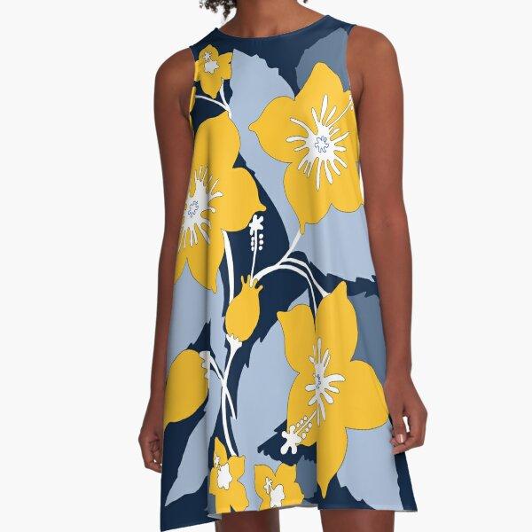 maze and blue A-Line Dress