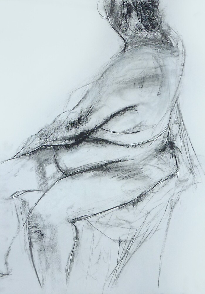 Nude seated side study by BM Ruskin