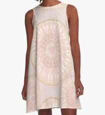 Pink Gold Elegant Mandala Pattern A-Line Dress