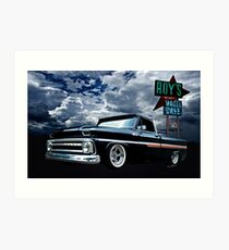 65 Chevy C-10 Stopping at Roy's on Route 66 Art Print