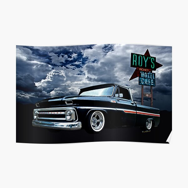 65 Chevy C-10 Stopping at Roy's on Route 66 Poster