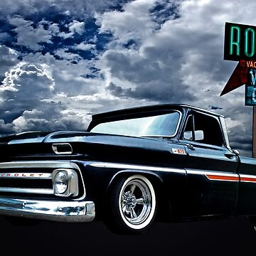 65 Chevy C-10 Stopping at Roy's on Route 66 by ChasSinklier