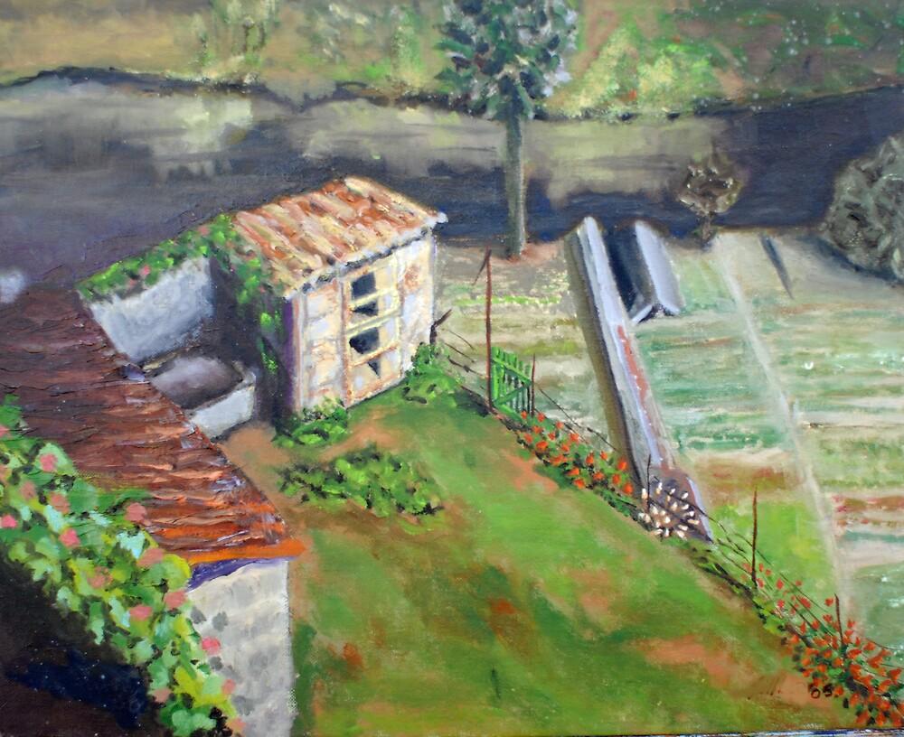 le jardin de lapin au-dessus de la rivière d'Argenton by Phyllis Dixon