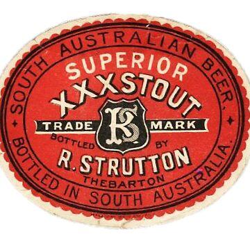 Beer South Australian Beer  XXXStout R Strutton Vintage Label by Glyn123